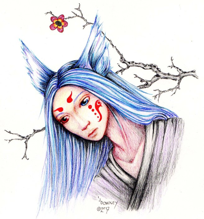 Kitsune waiting illustration